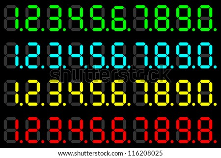 Illustration of a set of numbers of different color LED - stock photo