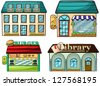 Illustration of a set of shops - stock photo
