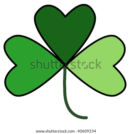 Illustration of a shamrock with leaves in three shades of green, and black outlines.  White background.