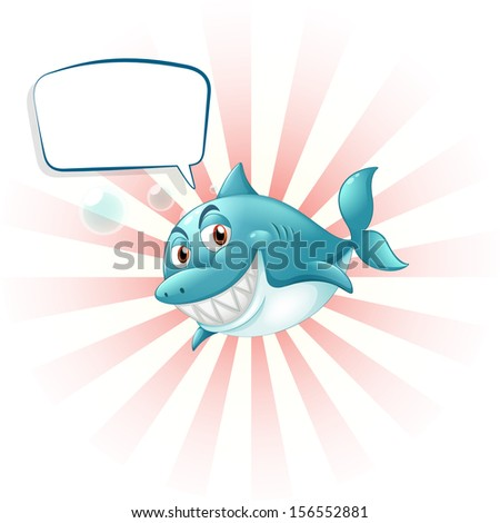 Illustration of a shark with an empty callout on a white background  - stock photo