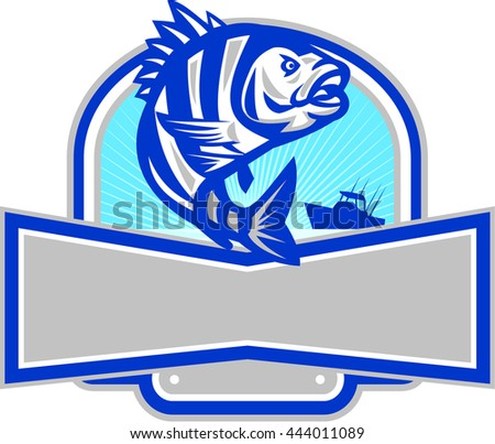 Illustration of a sheepshead (Archosargus probatocephalus) a marine fish jumping up set inside half circle and banner with fishing boat and sunburst in the background done in retro style.