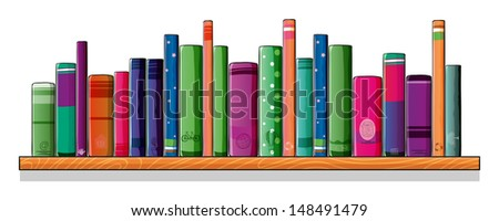 Illustration of a shelf full of books