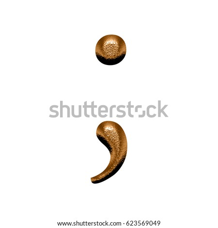 Bronze period stock images royalty free images vectors illustration of a shiny bronze or copper color metallic chiseled semicolon punctuation mark with a hammered urtaz Choice Image