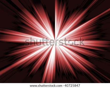 Illustration of a shiny burst of red light in a black background. - stock photo