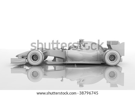 Illustration of a shiny racing car in a 'blueprint' style - stock photo