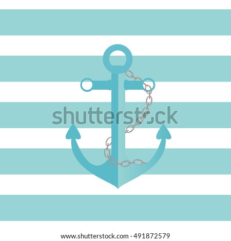 Illustration of a ship anchor and chain in an agua color with blue and white stripped background./Ship Anchor