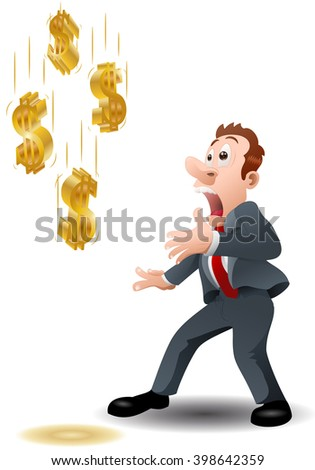 illustration of a shocking businessman watching golden dollar falling from sky on isolated white background - stock photo