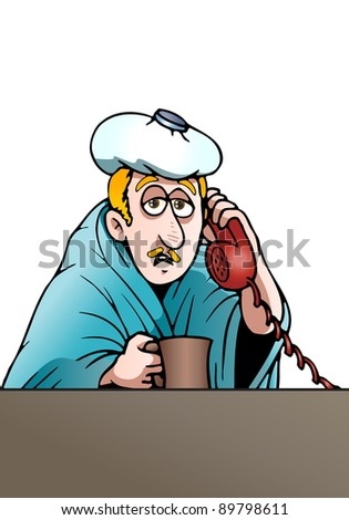 illustration of a sick man having fever calling his office to have permit not to work today over a  white background - stock photo