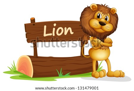 Illustration of a signboard at the back of a scary lion on a white background