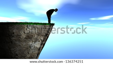 Illustration of a Silhouette of a Guy Looking over a Cliff against a blue cloudy sky - stock photo