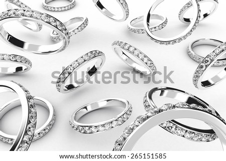 Illustration of a silver rings with many brilliants - stock photo