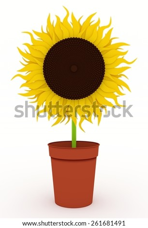 Illustration of a single Sunflower in a pot - stock photo