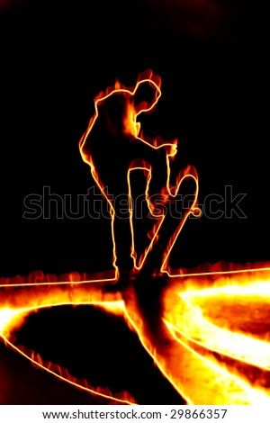 Illustration of a skateboarder performing his tricks in fiery flames. - stock photo