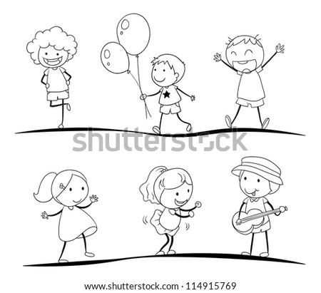 illustration of a sketches of kids on a white background - Kids Sketches
