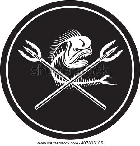 Illustration of a skull of dorado dolphin fish, mahi mahi or mahi-mahi with crossed primitive spearfishing spear set inside circle on isolated background done in retro style.  - stock photo