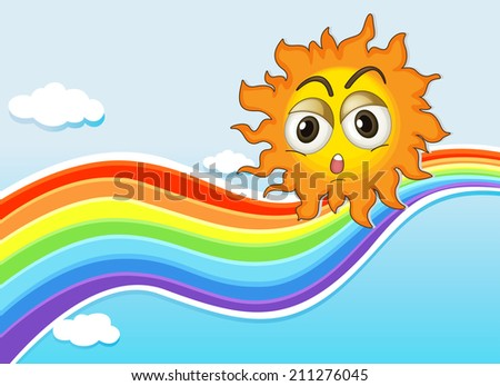 Illustration of a sky with a sun and a rainbow - stock photo