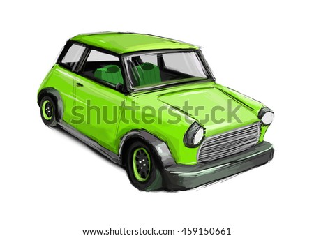 Illustration of a small car in the hatchback body, green car