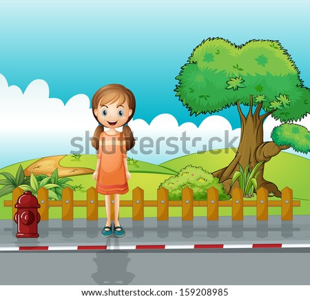 Illustration of a small girl standing near the wooden fence