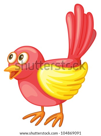 Illustration of a small red bird - - stock photo