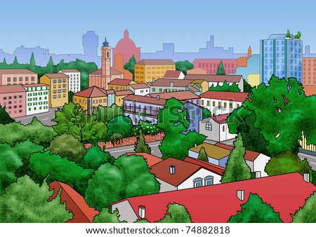 Illustration of a small town landscape. View from above - stock photo