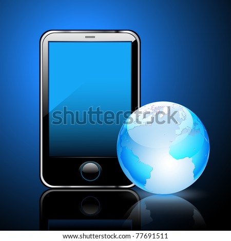 Illustration of a smart phone and globe of the Earth, a dark blue background.