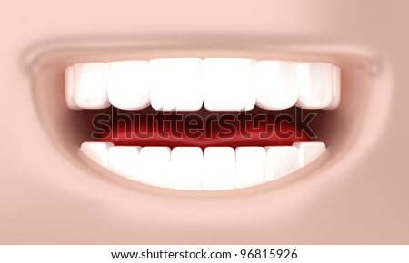 Illustration of a smile of the person with white teeth - stock photo