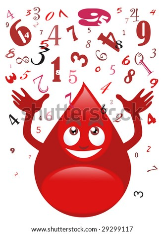 Illustration of a smiling blood drop catching a series of numbers - Cartoon style - White background - stock photo