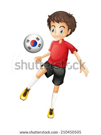 Illustration of a smiling boy playing the ball with the flag of South Korea on a white background - stock photo