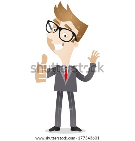 Illustration of a smiling cartoon businessman waving and giving the thumbs up - stock photo