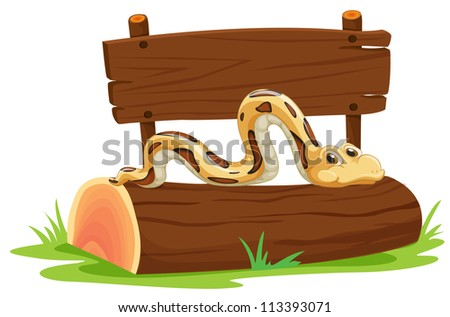 Illustration of a snake on a log - stock photo
