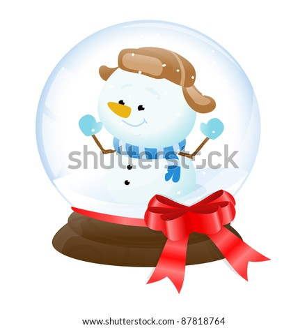 Illustration of a snowman in a snow globe