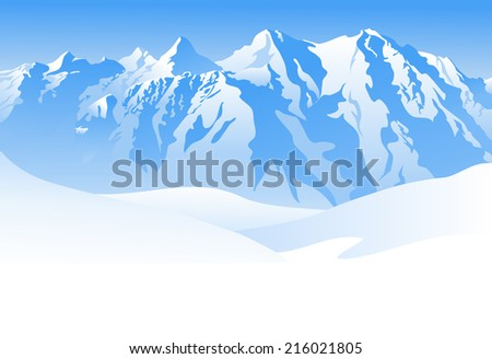 Illustration of a snowy mountain landscape