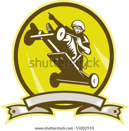 illustration of a Soap box derby car jumping viewed from low angle with scroll