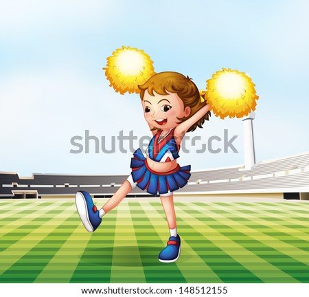 Illustration of a soccer field with a cheerdancer - stock photo