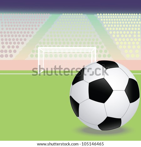 illustration of a soccer, football field with soccer ball in the foreground. - stock photo