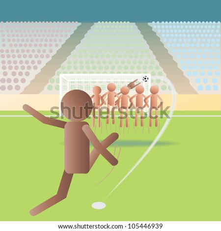 illustration of a soccer match, football match on a free kick situation. - stock photo