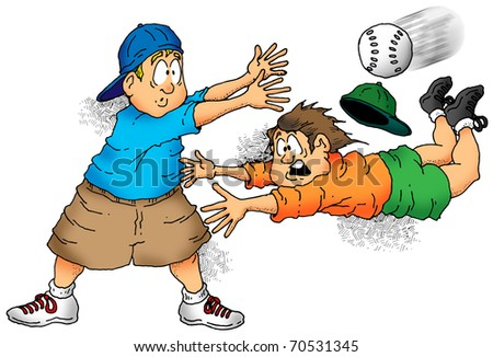 Illustration of a softball player trying to make a tag.