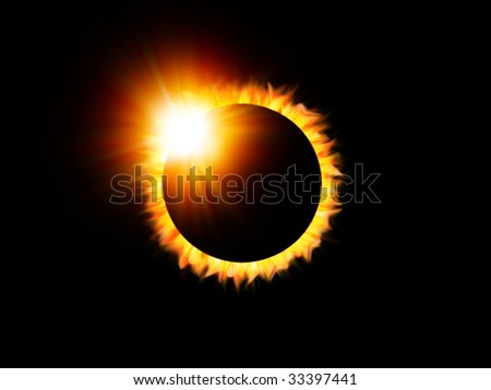 Illustration of a solar eclipse with flare - stock photo