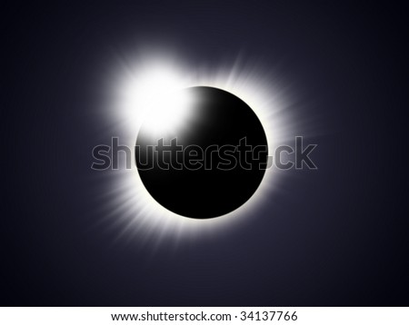 Illustration of a solar eclipse with flare in subdued blue and black colours colors - stock photo