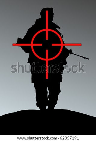 Illustration of a soldier being targeted - stock photo