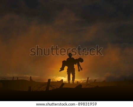 Illustration of a soldier carrying a wounded comrade - stock photo