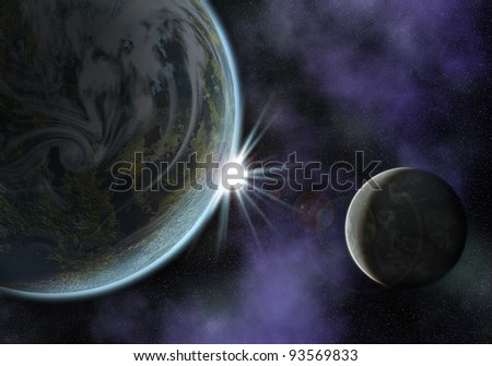 illustration of a space scene with planet and moon. the sun is about to rise - stock photo