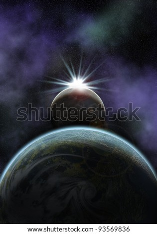 illustration of a space scene with planet and moon. the sun is about to rise behind the moon
