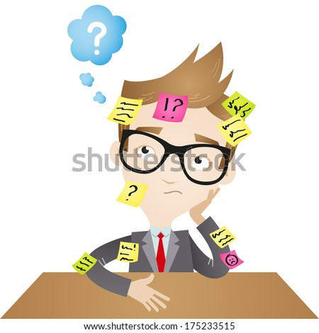 Illustration of a speculating cartoon businessman sitting at desk with sticky notes all over him (Vector version also available in my gallery). - stock photo