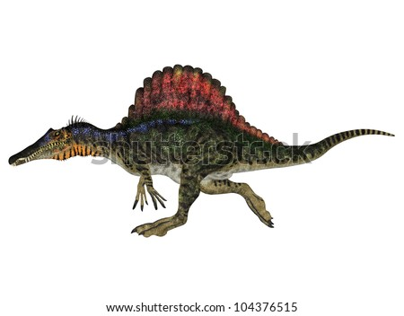 Illustration of a Spinosaurus (dinosaur species) isolated on a white background - stock photo