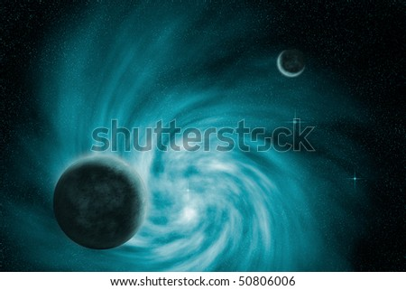 Illustration of a spiral galaxy and planets in outer space.