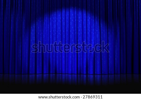 Illustration of a spotlight and star patterns cast on closed blue curtains on an empty stage - stock photo