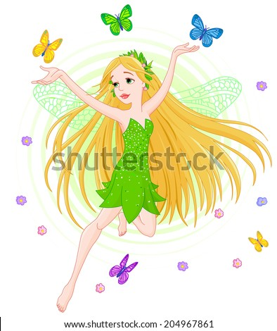 Illustration of a spring fairy in flight surrounded by butterfly - stock photo