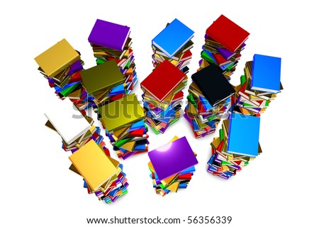 Illustration of a stack books on white background