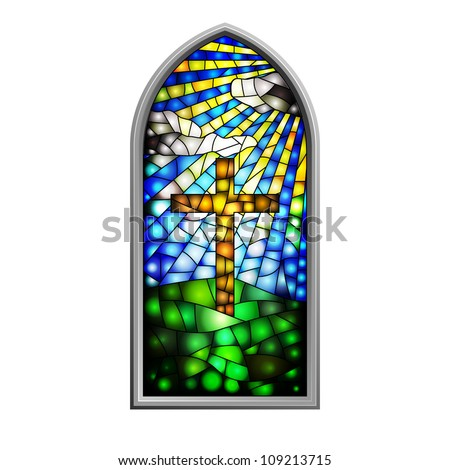 Illustration of a stained glass window - stock photo
